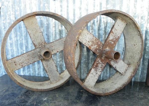 Vintage Steel Industrial Cart Wheels Pair Hippiehog