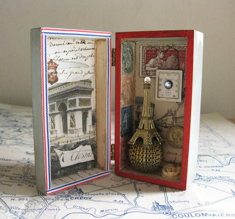 Paris Shadow Box Assemblage Eiffel Tower French Postage