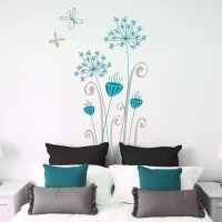 Garamba Exotic flowers wall decal grey/ teal