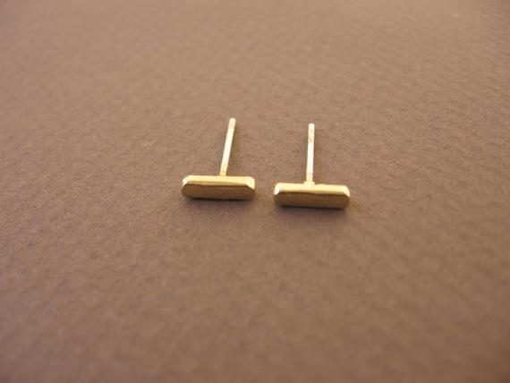 Tiny Bar Stud Earrings Gold Post Earringsilver Sterling