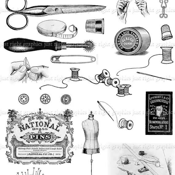 Vintage Sewing Digital Collage Sheet Scrapbook Needle Thread