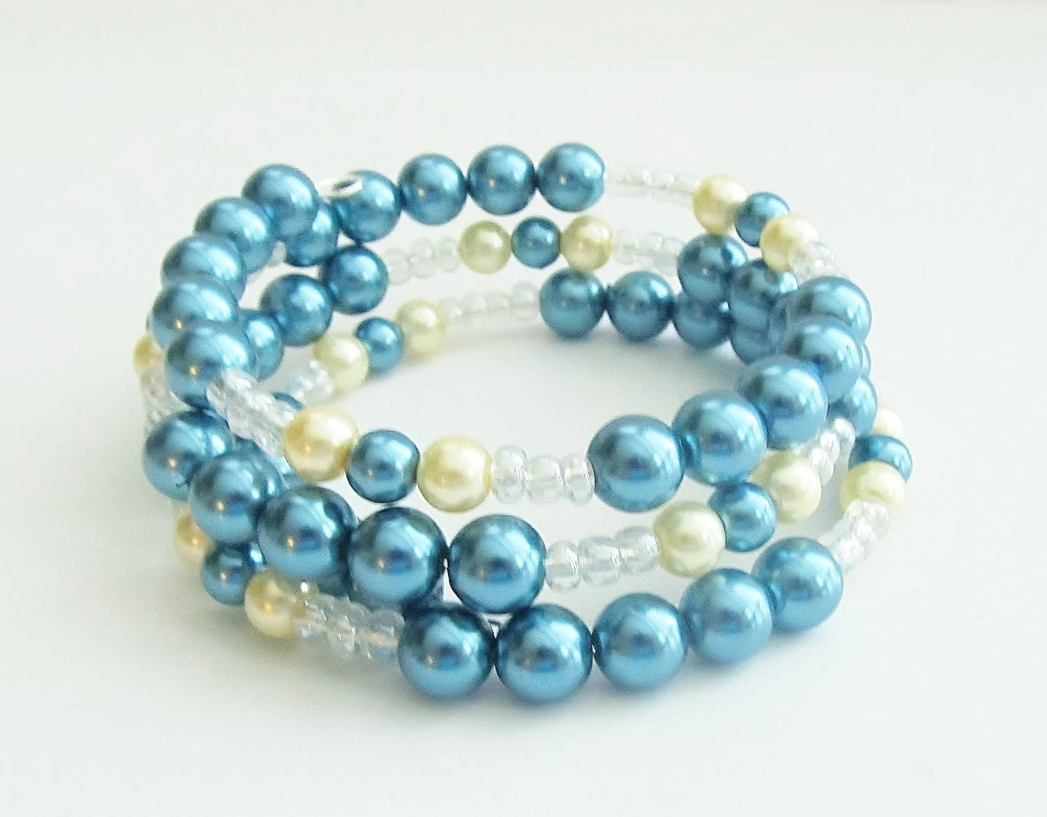 Pearl Beaded Memory Wire Wrap Bracelet - blue & cream
