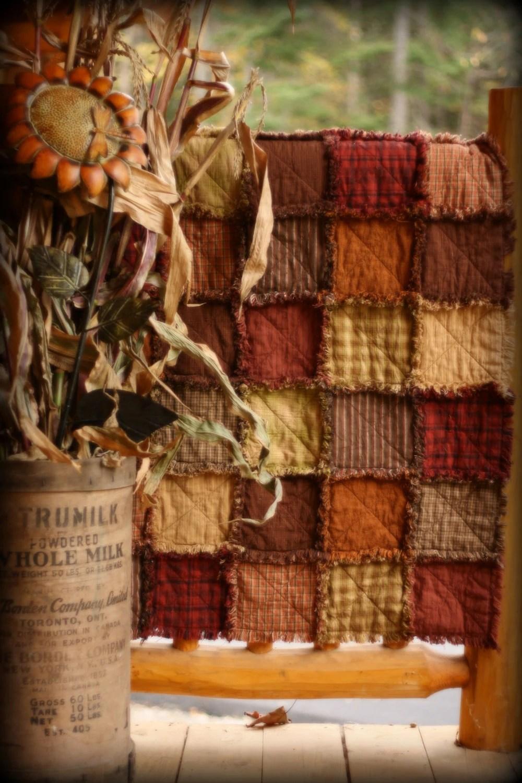Primitive Rag Quilt throw size