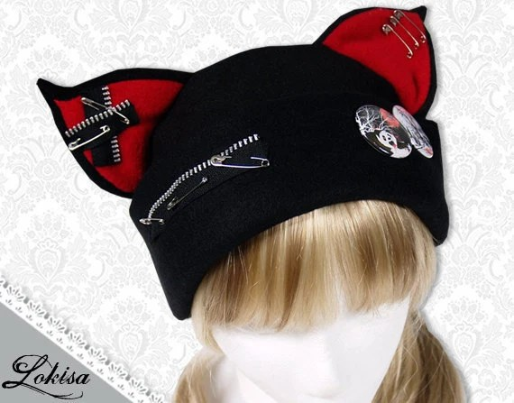 Cat Kitty Fleece Hat  Anime Cosplay Punk JRock  (Blood Red Ears with Zippers Ears) - LokisaFashion
