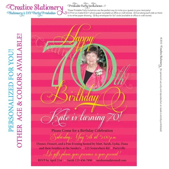 Birthday Invitations 70th Party