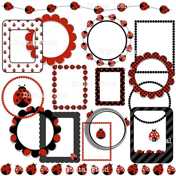 ladybug clip art set digital frames