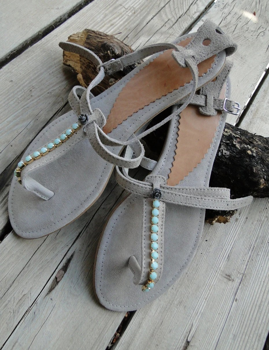 Leather sandals - Grey Suede leather sandals with Swarovski and Cabocon rose - Greek leather sandals