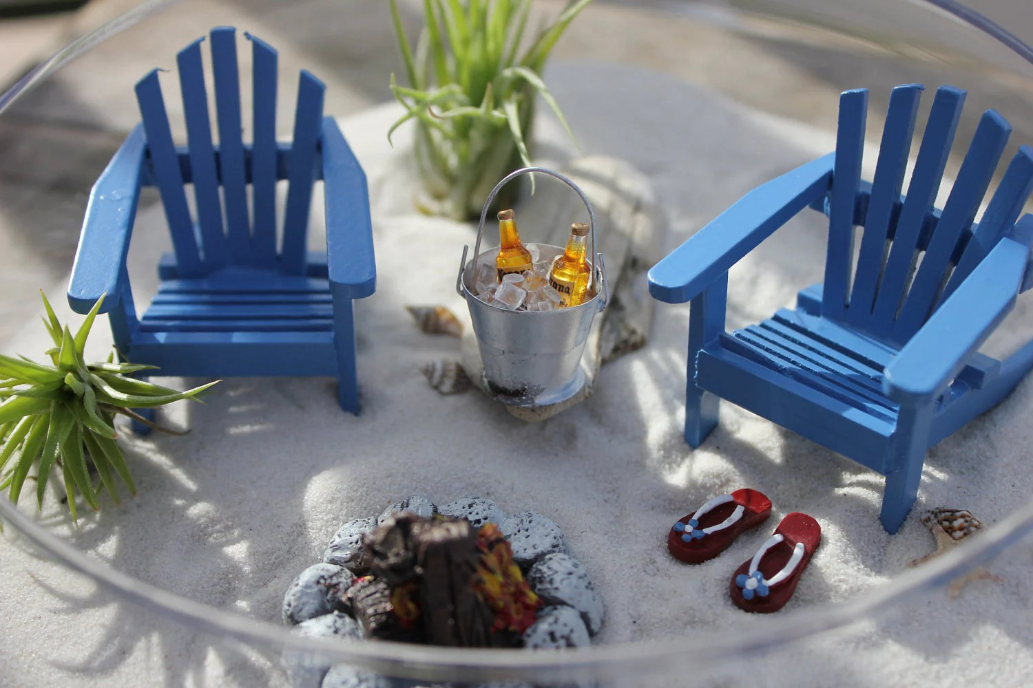 adirondack chair photo frame favors folding exercise miniature beach vacation with a campfire by