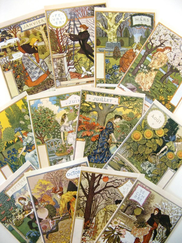 Art Nouveau Postcards Eugene Grasset-set Of 12