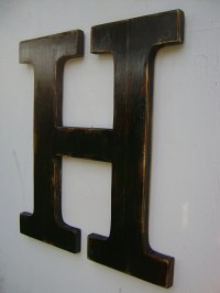 Big wall hanging wooden letter H nursery decor painted