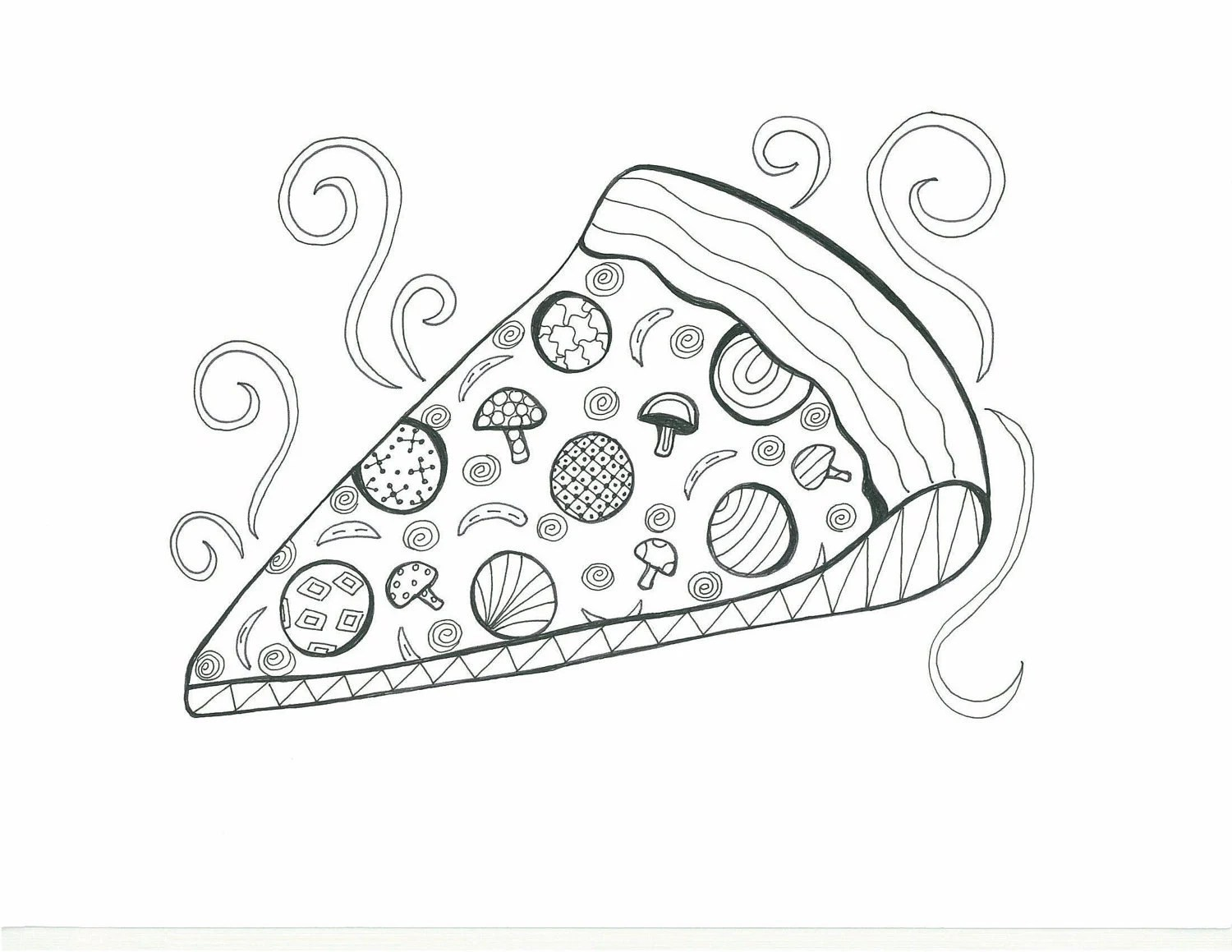 Items similar to Drawing for Coloring-Pepperoni Pizza