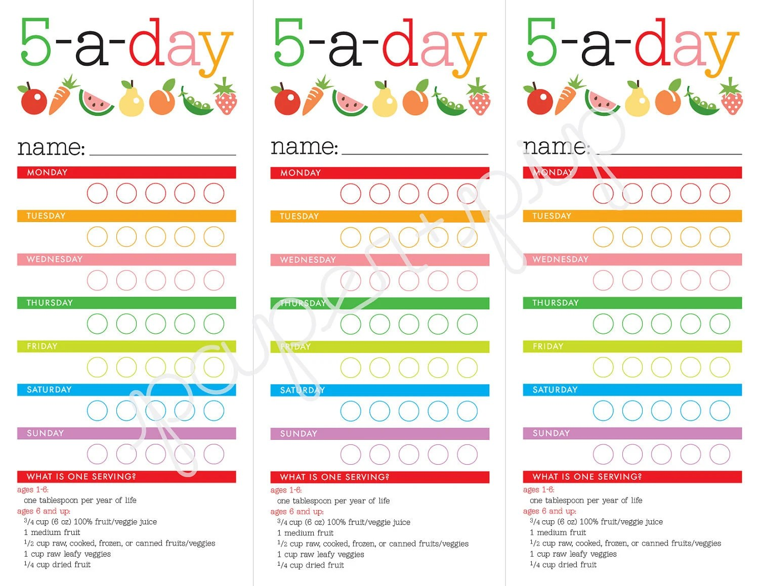 Healthy Eating Chart For Kids 5 A Day Printable By Paperandpip