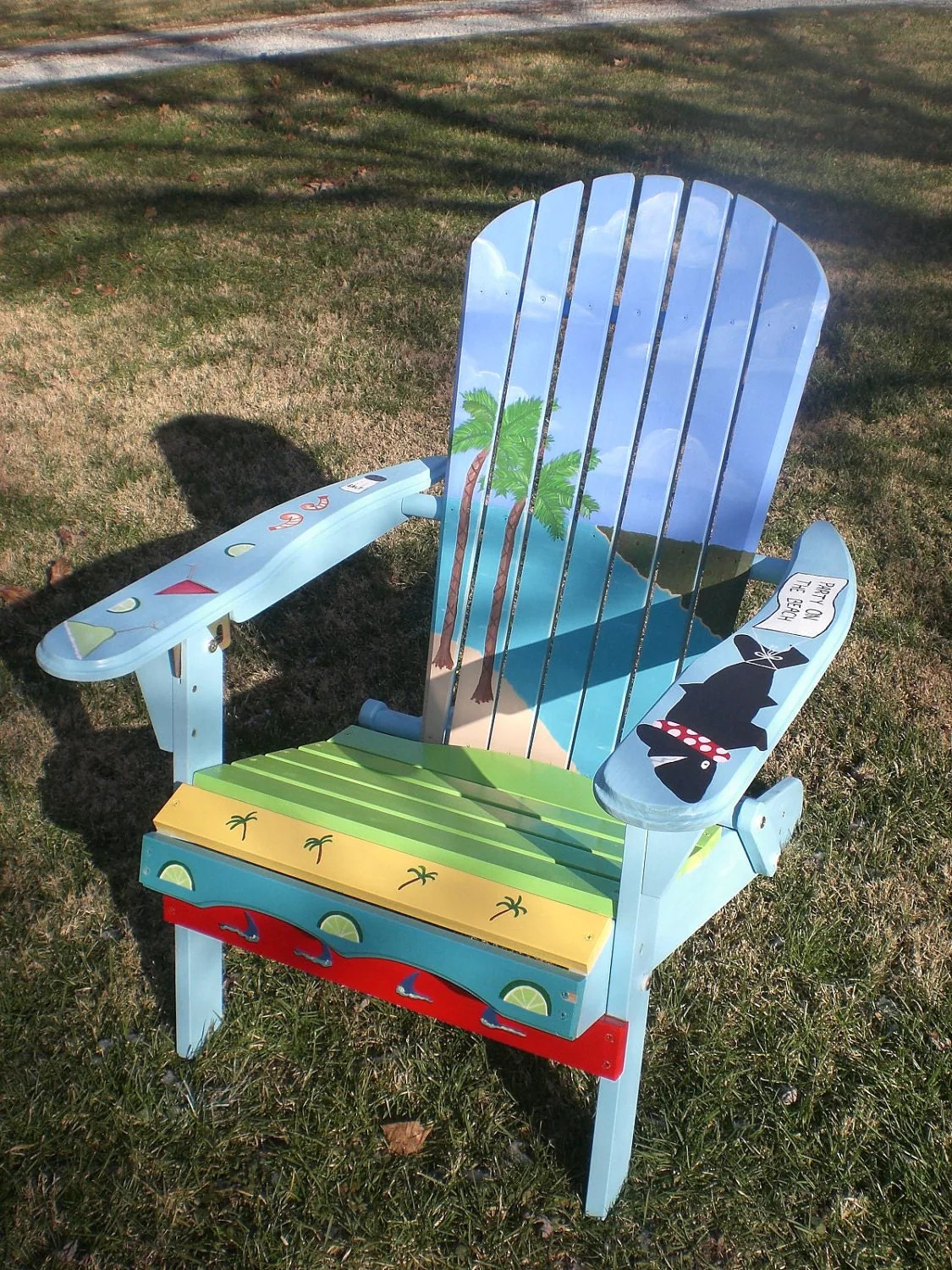 paint for adirondack chairs director chair covers target hand painted with an ocean and island theme