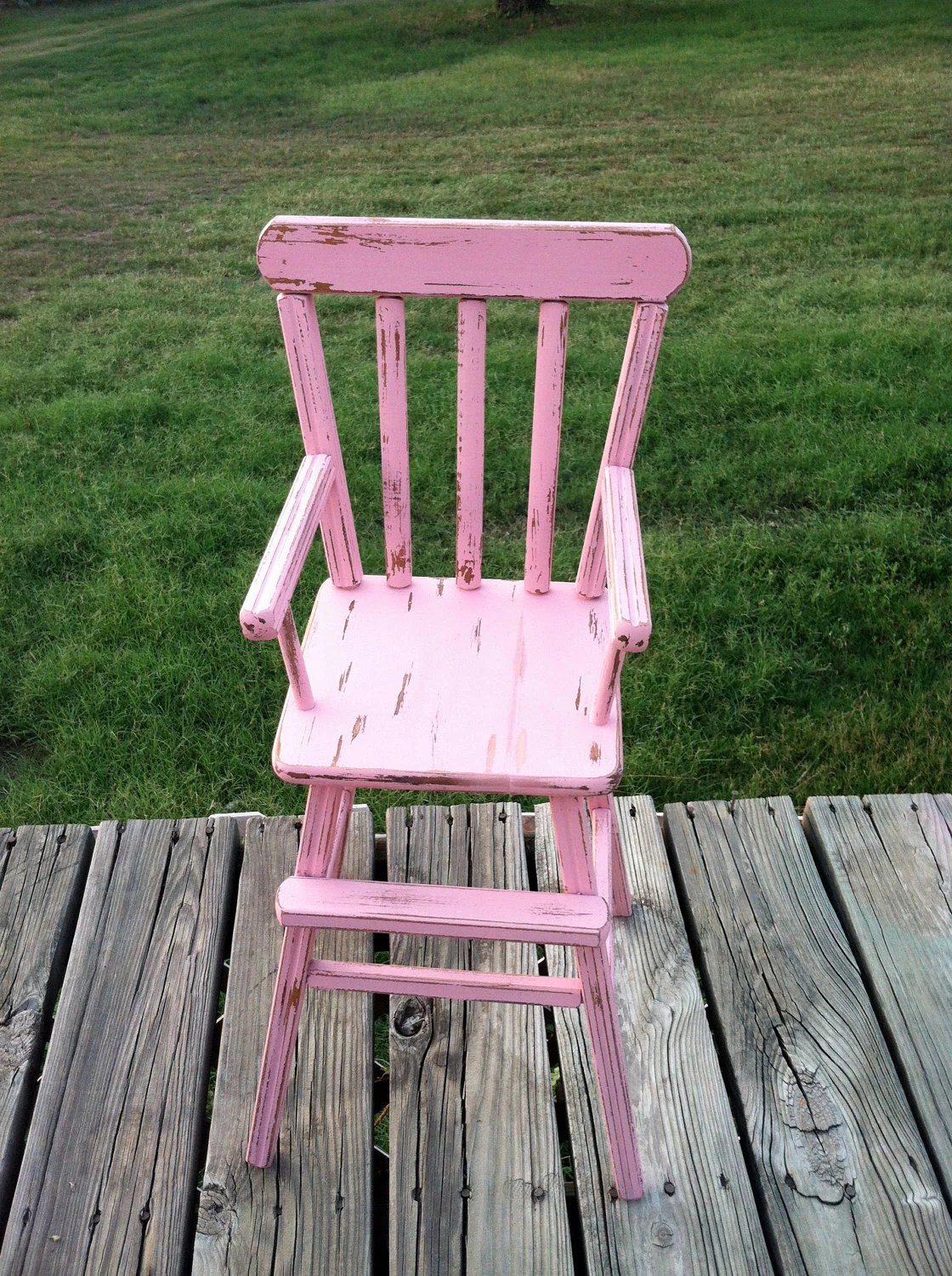 pink high chairs rocking chair parts vintage doll shabby chic girls