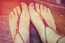 Handmade Thin Bohemian Red Crochet Barefoot Sandals Hippie