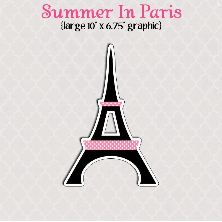 Large Printable Eiffel Tower Graphic Cut Out Summer In