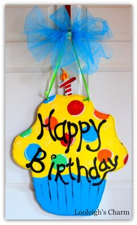 Happy Birthday Door Hanger Birthday Decoration Cupcake Party