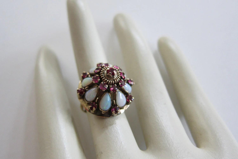 14K Gold Ruby Opal Vintage Thai Princess Ring By VestalVintage