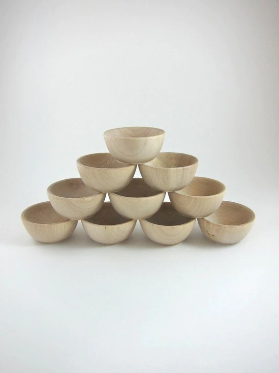 10 Small Wood Bowls Unfinished Wooden Ring Bowl Ring
