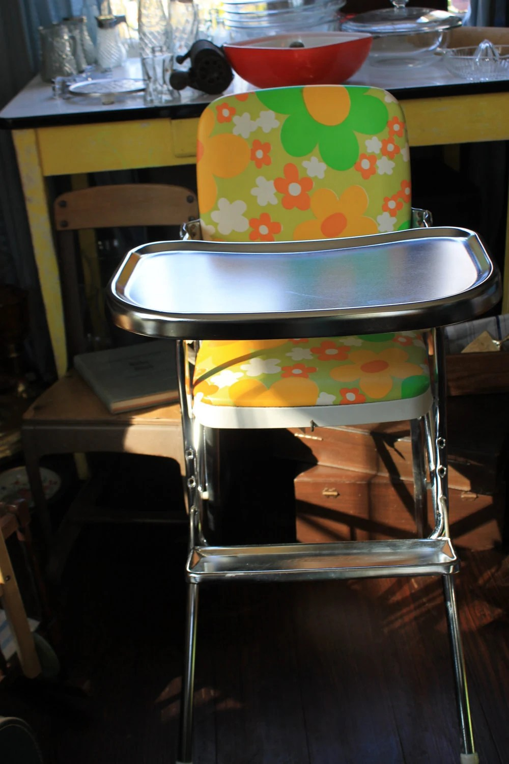 cosco baby chair cup holder mod retro high chrome highchair orange and