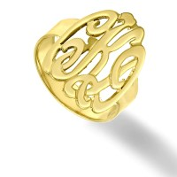 10K 14K or 18K Solid Gold Initials Ring Handmade Monogram