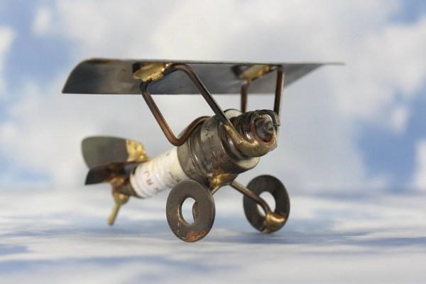 Welded Metal Art Sculptures Airplane