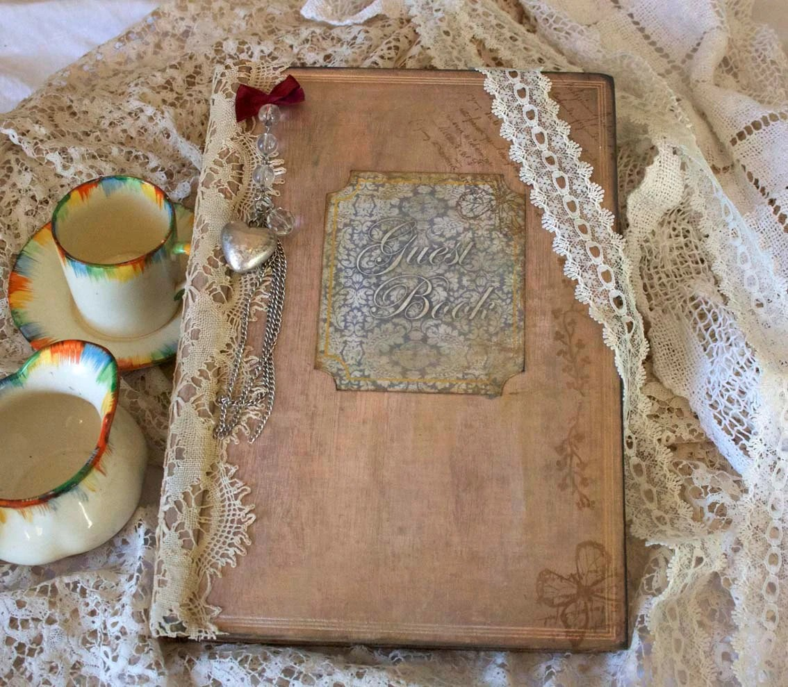 Items similar to Custom Wedding guest book  vintage shabby chic style  24 pages on Etsy