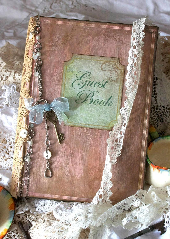 Wedding guest book vintage shabby chic custom