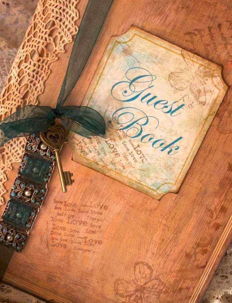 Wedding guest book vintage shabby chic style custom
