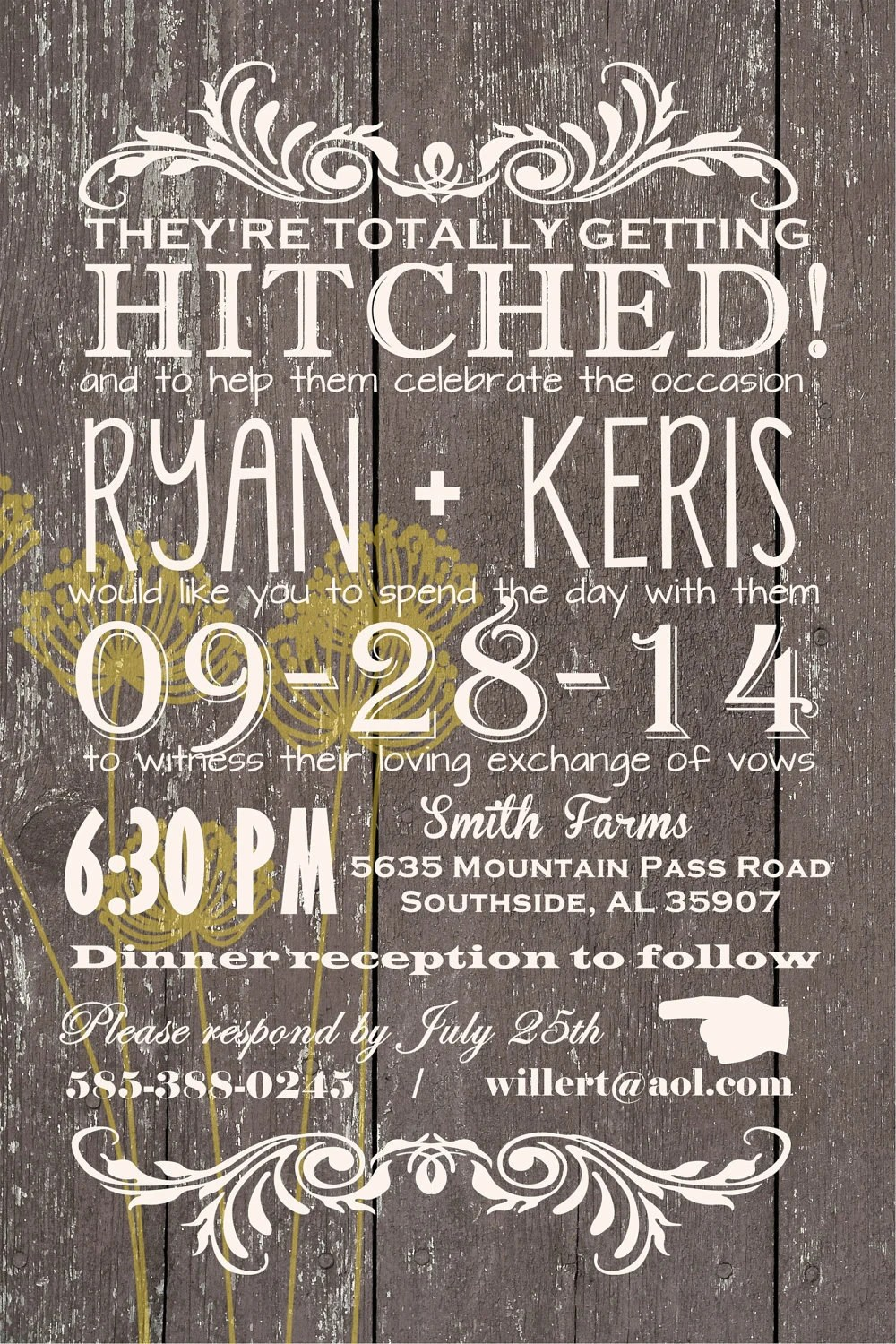 Custom Western Wedding Invitation Wedding Invitations Barn