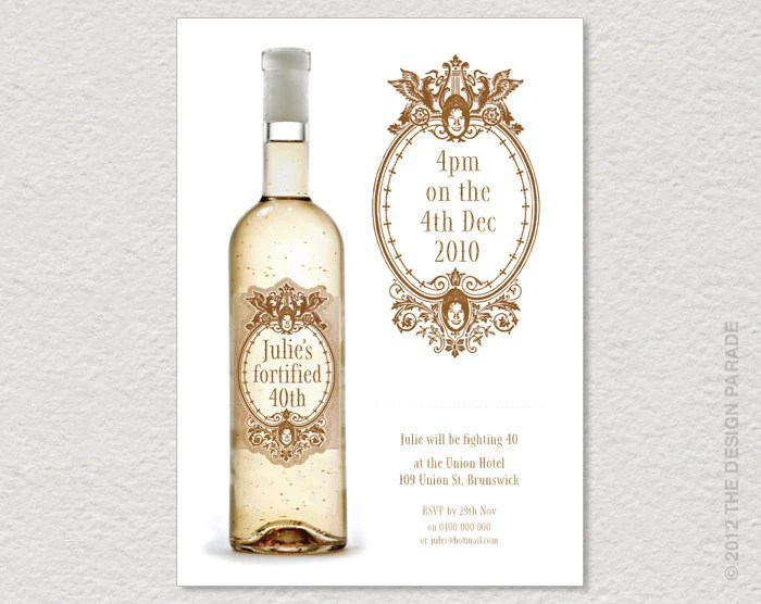 PRINTABLE Wine Label Invitation For 30th 40th 50th Etc