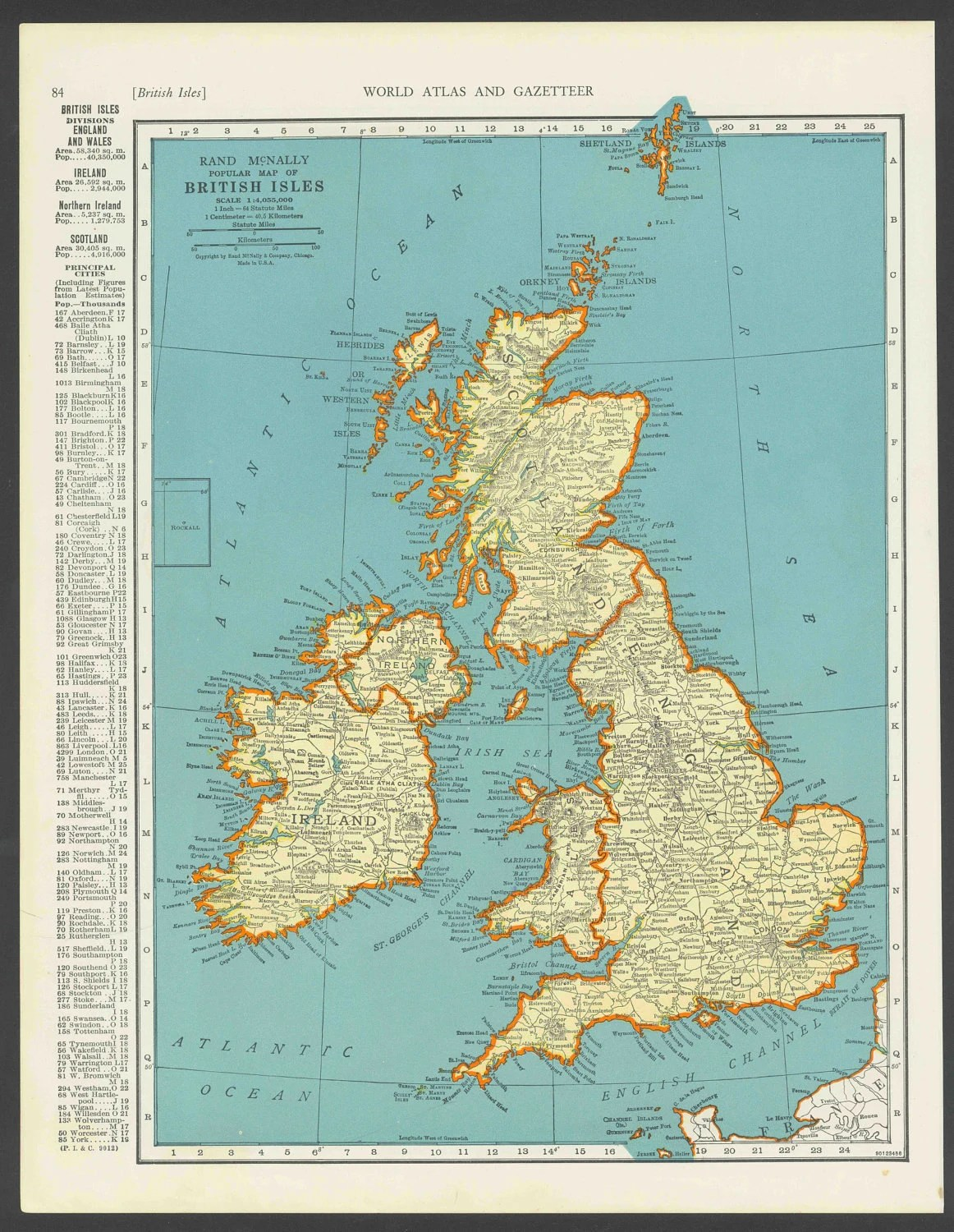 Vintage Map Of British Isles England Scotland By