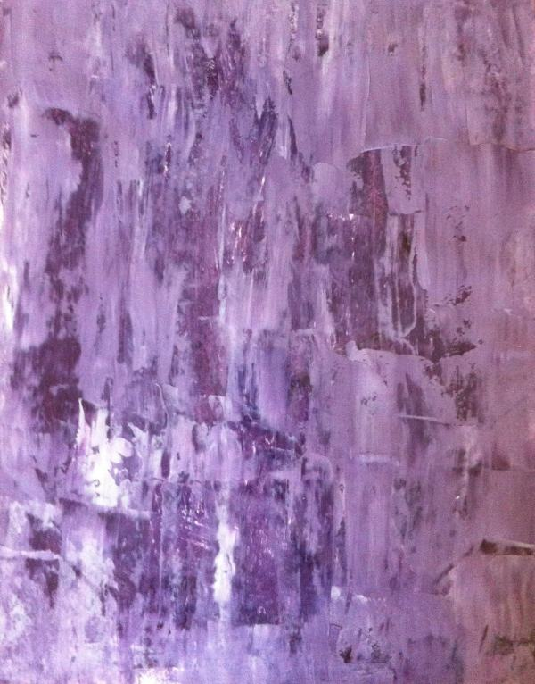 Acrylic Abstract Art Painting Purple Lavender White