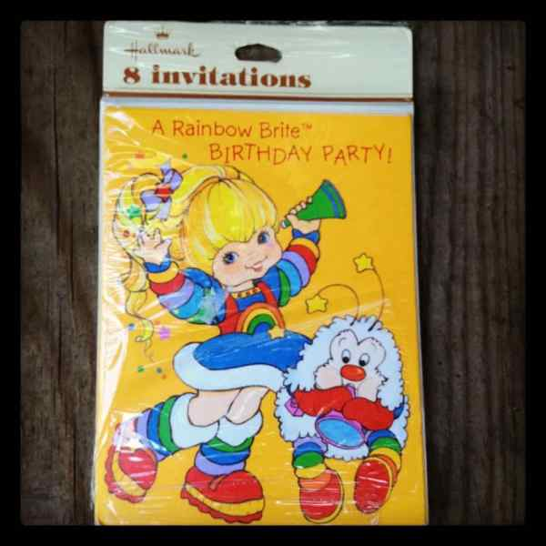 Vintage Rainbow Brite Birthday Invitation Cards