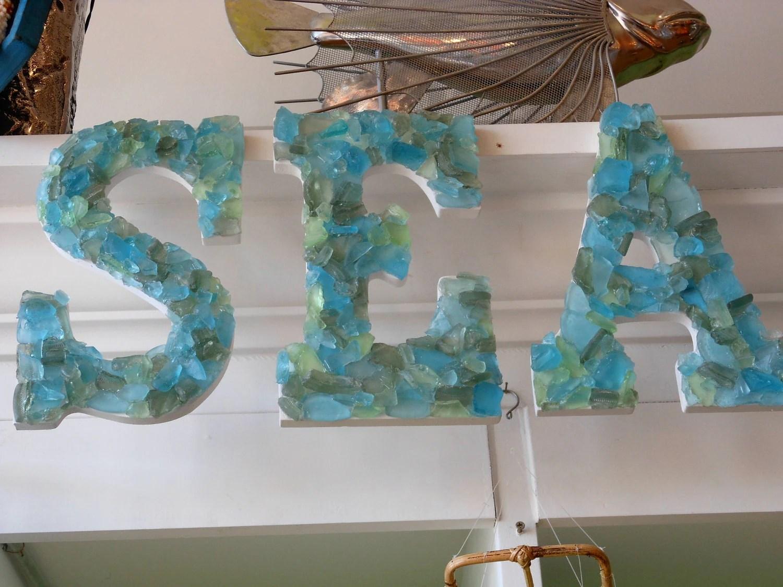 Beach Decor Seaglass Letters SEA Seashells