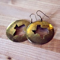 Vintage Texas Shaped Brass Earrings by CaprockVintage on Etsy
