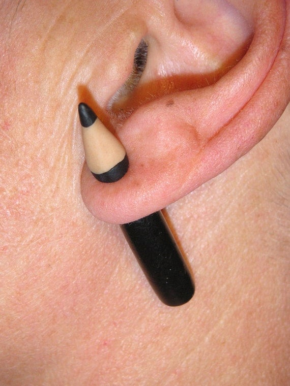 Pencil through the ear. Fimo fake gauge earrings with steel plug