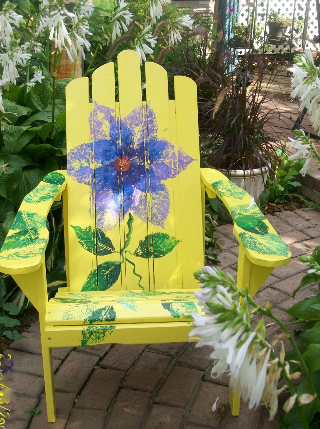 paint for adirondack chairs chair cover recliner hand painted bright yellow