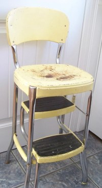 Retro 1960s Kitchen Step Stool with Two Pull Out Step Vintage
