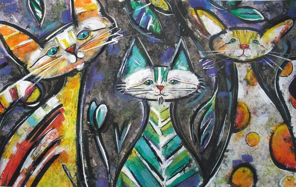 Three Cats Abstract Painting Colorcatstudios