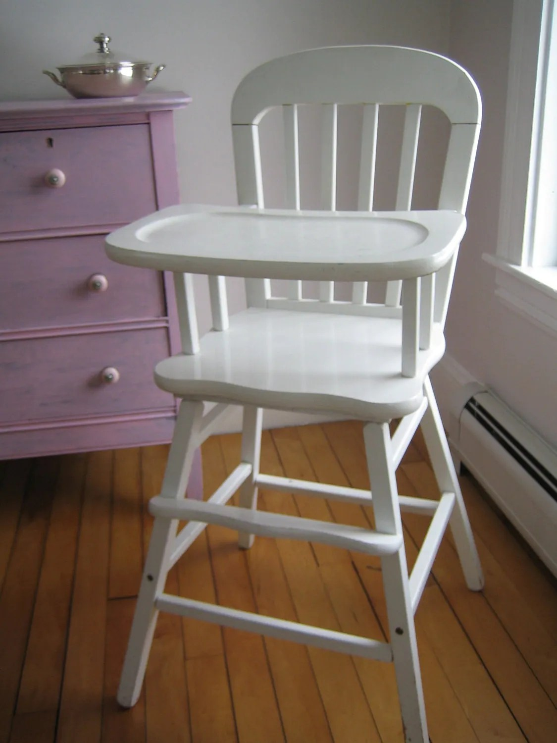 vintage wooden high chair bistro style table and chairs items similar to white on etsy