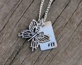 Fly Stamped Metal Necklac...