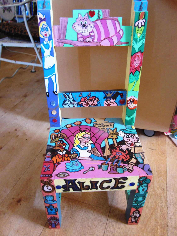 alice in wonderland chair ergonomic bangalore handpainted wooden inspired by artsefrtse