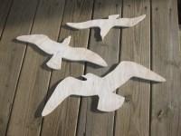 Seagulls beach decor sea birds wood wall art cottage coastal