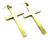 HUGE Antique Gold PAGAN CROSS Urban Earrings Large Boho
