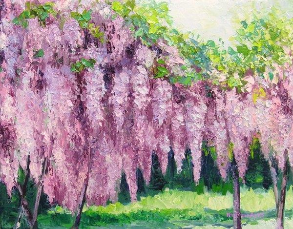 wisteria garden landscape oil painting