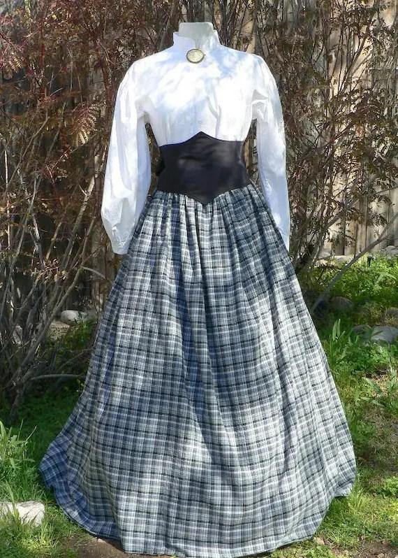 Cotton Homespun Plaid Skirt Civil War Victorian Drawstring