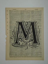 Alphabet letter M vintage dictionary print book by 2PurpleCats