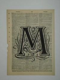Alphabet letter M vintage dictionary print book by 2PurpleCats