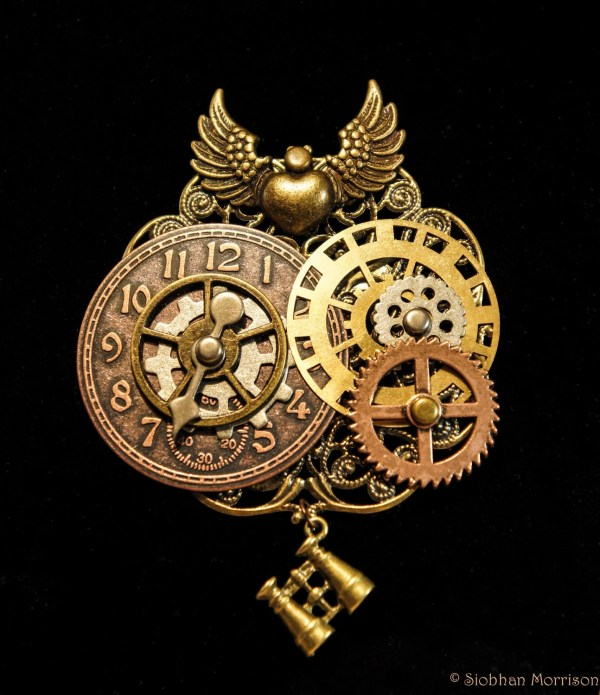 Large Steampunk Gear Clock Filigree Binocular Brooch